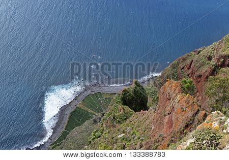 View straight down to beach and sea from Cabo Girao in Madeira Portugal. (one of the highest cliffs in the world 590 metres)