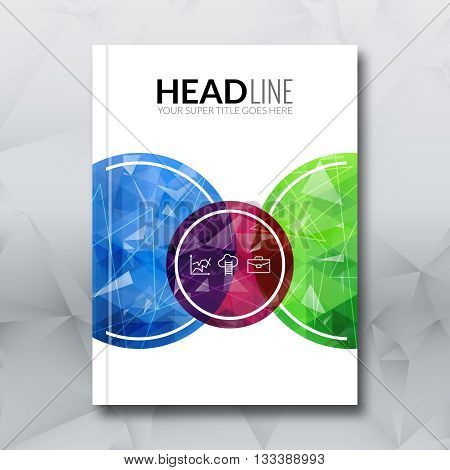 Cover report colorful blue red green triangle geometric prospectus design background, cover flyer magazine, brochure book cover template layout, vector illustration.