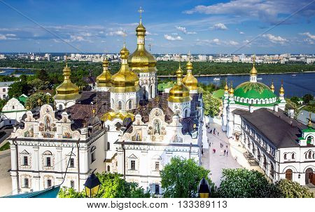 Panorama Kiev Pechersk Lavra Day View