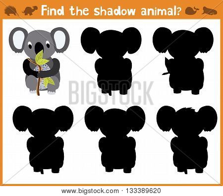 Cartoon vector illustration of education will find appropriate shadow silhouette animal Koala. Matching game for children of preschool age. Vector illustration