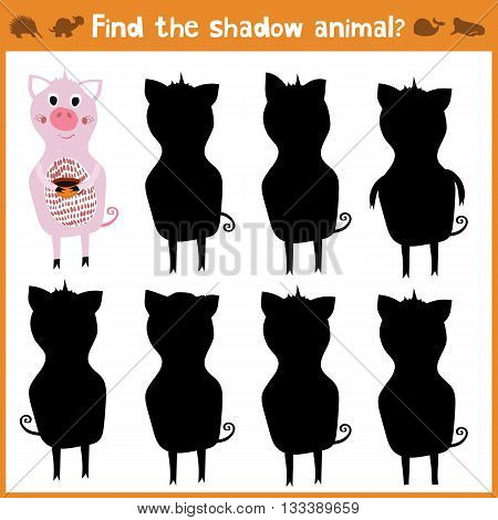 Cartoon vector illustration of education will find appropriate shadow silhouette animal pig. Matching game for children of preschool age. Vector illustration