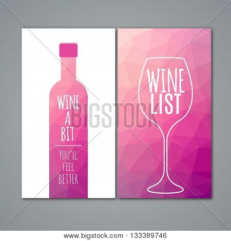 Polygonal wine menu design template. Restaurant bar menu for wine.