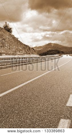 Highway in the Italian Apennines Vintage Style Sepia