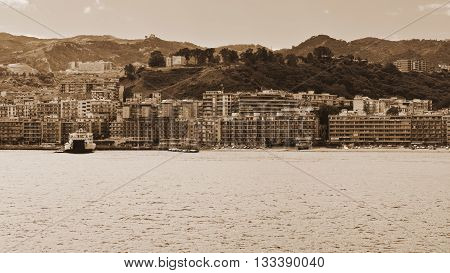 View of the City of Messina from the Strait Vintage Style Sepia