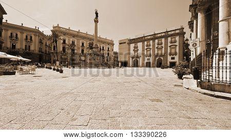 San Domenico Square in Palermo Vintage Style Sepia