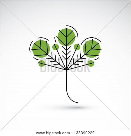 Hand-drawn illustration of simple tree leaf isolated. Green foliage spring herb. Vector botanical symbol can be used as design element in ecology conservation theme.