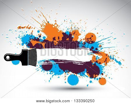 Art drawn funky vector illustration created with splashes and inky spots.