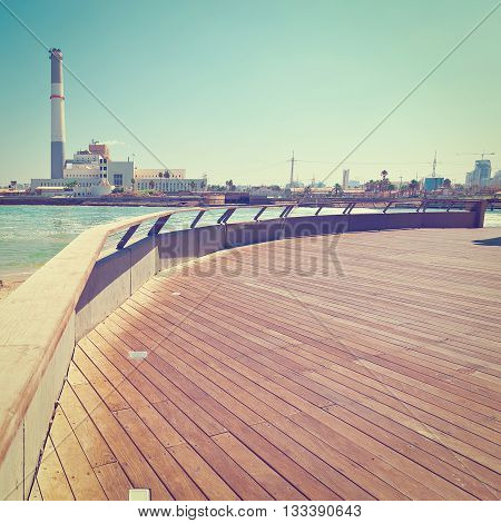 View of the Power Station from the Promenade of the Old Port in Tel Aviv Retro Effect