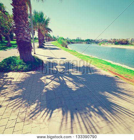 Bicycle Track along the Yarkon river in Tel Aviv Israel Retro  Effect