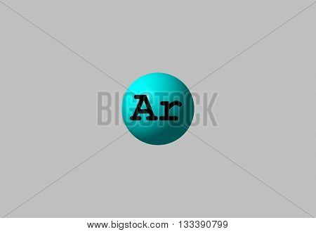 Argon is a chemical element with symbol Ar and atomic number 18. It is in group 18 of the periodic table and is a noble gas. 3d illustration