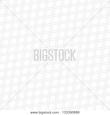 Geometric repeating vector ornament with diagonal dotted lines. Seamless abstract modern pattern. Light silver pattern
