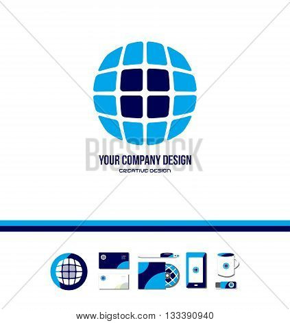 Vector company logo icon element template tech technology globe grid square circle