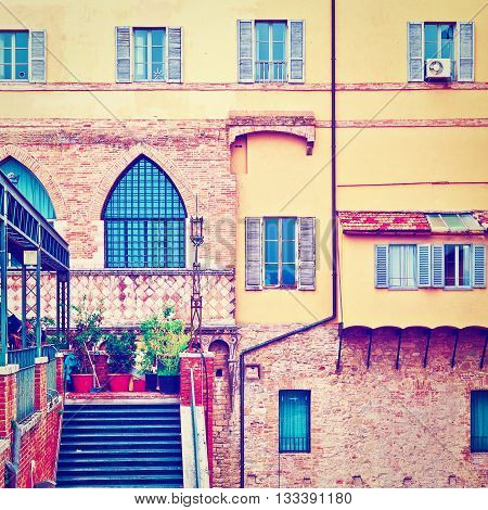 View to Historic Center City of Perugia in Italy Retro Effect