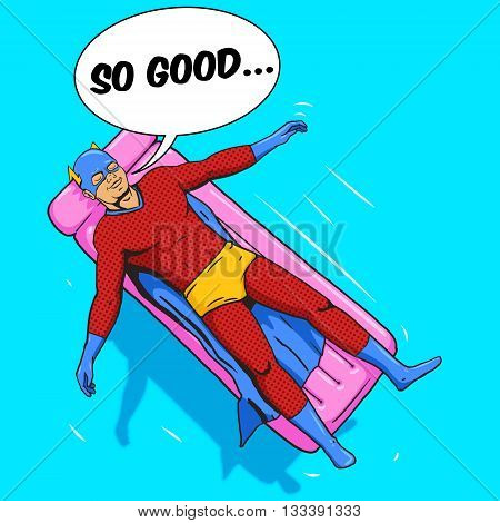 Superhero lying on air mattress on water. Cartoon pop art vector illustration. Human comic book vintage retro style.