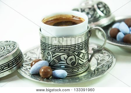 Delicious traditional Turkish coffee and Turkish delight