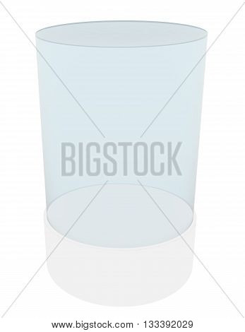 3D empty glass cylinder for exhibit. 3D rendering