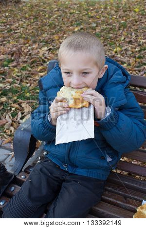 Boy eating pasties in the autumn on the bench
