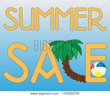 summer sale background with palm and beach ball on blue background vector summer sale banner