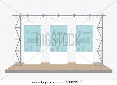 Exhibition scene. Vector illustration isolated on grey background