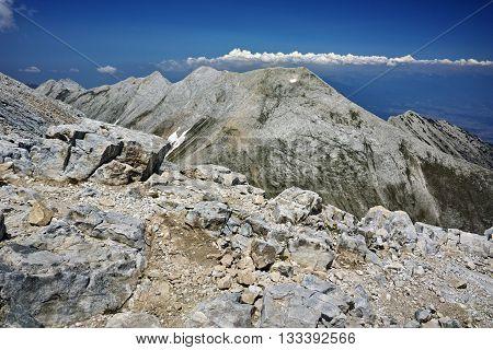 Panoramic view of Koncheto and Kutelo peak, Pirin Mountain, Bulgaria