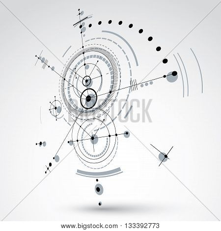 Vector Bauhaus abstract background made with grid and overlapping simple geometric elements circles. 3d retro artwork technology style monochrome graphic template for advertising poster.