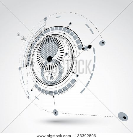 Three-dimensional mechanical scheme monochrome vector engineering drawing with circles and geometric parts of mechanism.