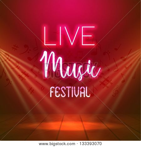 Neon Live Music Concert Acoustic Party Poster Background Template with spotlight and stage.