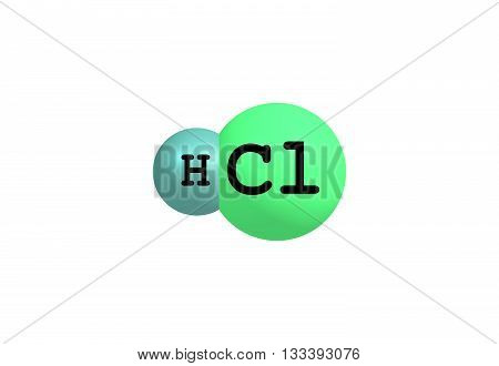 The compound hydrogen chloride has the chemical formula HCl. At room temperature it is a colorless gas. 3d illustration