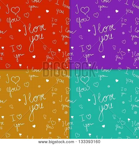 Set of seamless patterns with handwriten text. Pattern template with