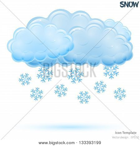 Fully vector snowy icon template. Glossy blue cloud object. Glossy blue snowflakes objects. Snowy icon template with blue shadow. Snowy template icon for various use.