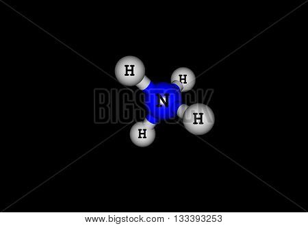 The ammonium cation is a positively charged polyatomic ion with the chemical formula NH4. It is formed by the protonation of ammonia - NH3. 3d illustration