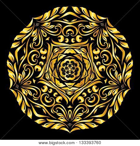 Vector gold element similar circle on black background