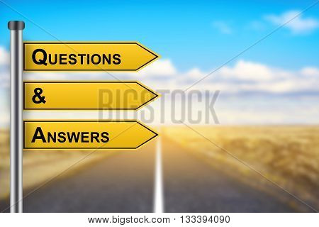 Q&A or Questions and answers words on yellow road sign with blurred background