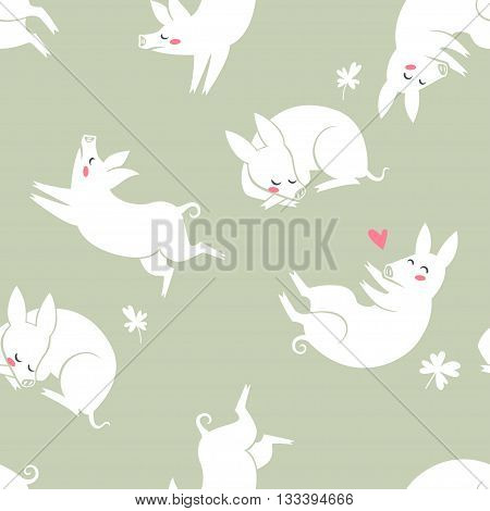 Funny pigs. vector seamless pattern with cute pigs