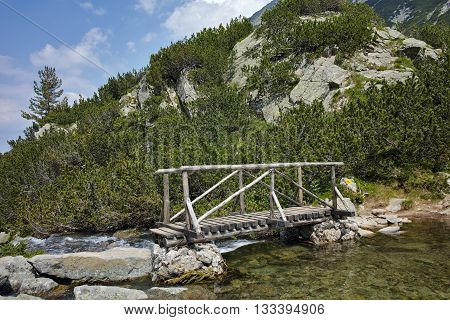 Amazing view of Wooden bridge over River near Vihren hut, Pirin Mountain, Bulgaria