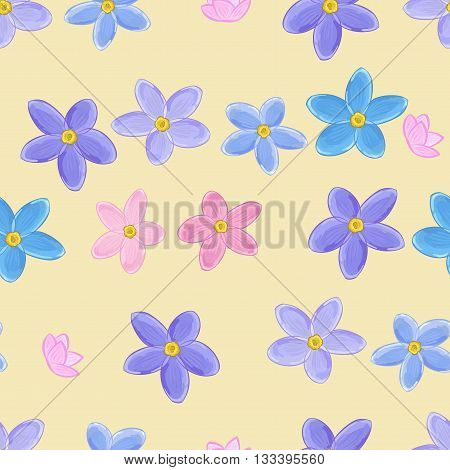 Floral seamless pattern with forget-me-not. Forget me not flowers. Digital or wrapping paper