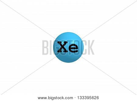 Xenon is a chemical element with the symbol Xe and atomic number 54. It is a colorless heavy odorless noble gas that occurs in the Earth's atmosphere in trace amounts. 3d illustration