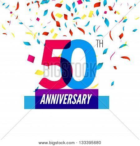 Anniversary design. 50th icon anniversary. Colorful overlapping design with colorful confetti.