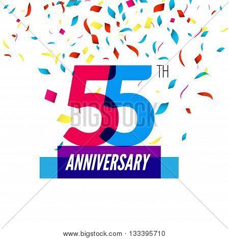 Anniversary design. 55th icon anniversary. Colorful overlapping design with colorful confetti.