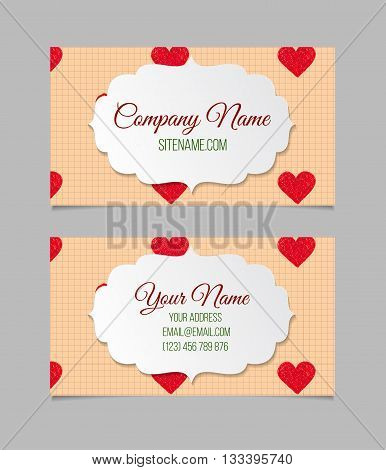 Business card template with red hand drawn hearts. Double-sided vector business card.