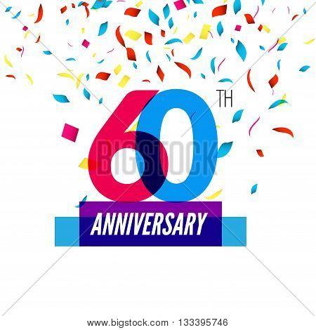 Anniversary design. 60th icon anniversary. Colorful overlapping design with colorful confetti.