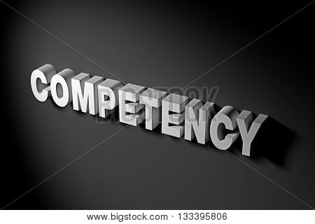 Competency Concept In 3D Rendering Text