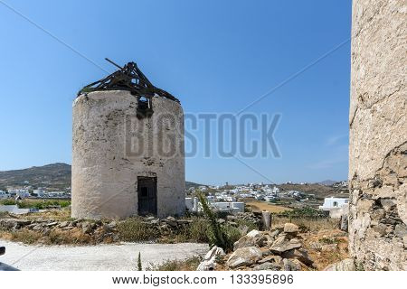 Ruins of old windmils in town of Ano Mera, island of Mykonos, Cyclades, Greece