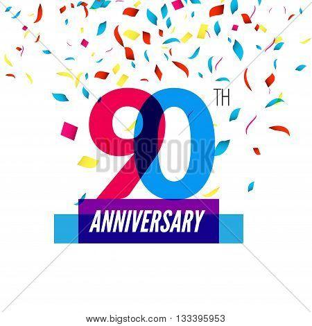 Anniversary design. 90th icon anniversary. Colorful overlapping design with colorful confetti.