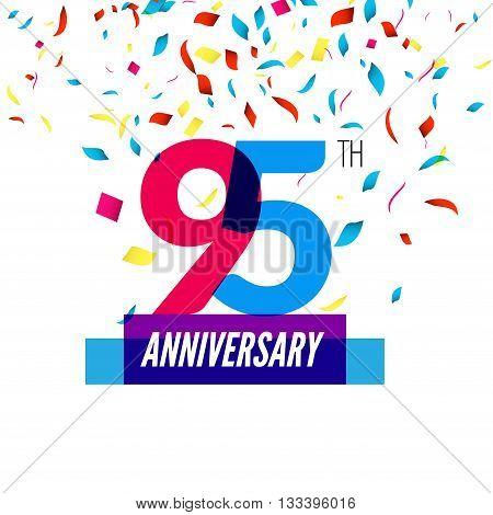 Anniversary design. 95th icon anniversary. Colorful overlapping design with colorful confetti.