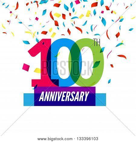 Anniversary design. 100th icon anniversary. Colorful overlapping design with colorful confetti.