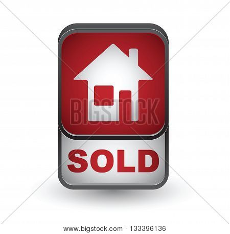 Sold icon. Real estate vector button isolated on white