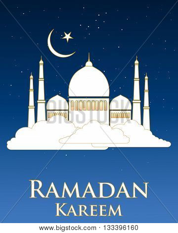 an illustration of a ramadan greeting card with a white mosque with gold trim floating on a white cloud with stars and moon on a dark nlue background