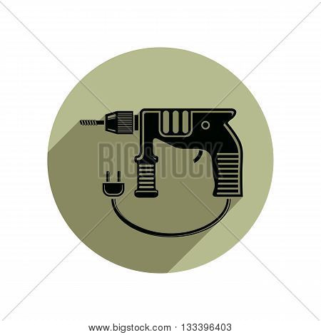 Vector illustration of electric power tool, drill symbol.