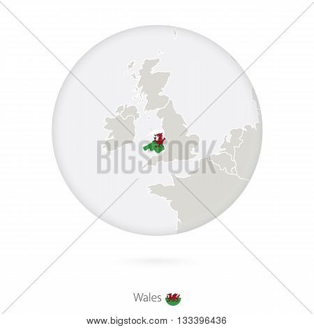 Map of Wales and national flag in a circle. Wales map contour with flag. Vector Illustration.